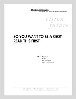 Cover Sheet - So You Want To Be A CEO? Read This First.