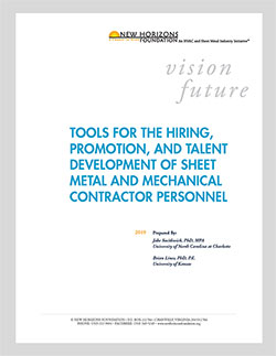 Cover Sheet - Tools for Hiring, Promotion, and Development of Sheet Metal Contractor Personnel
